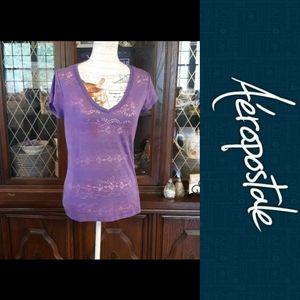 4/$15 Size L Aèropostale sheer purple shirt